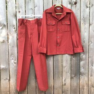 Vintage rust McGregor Ron Burgundy Leisure suit